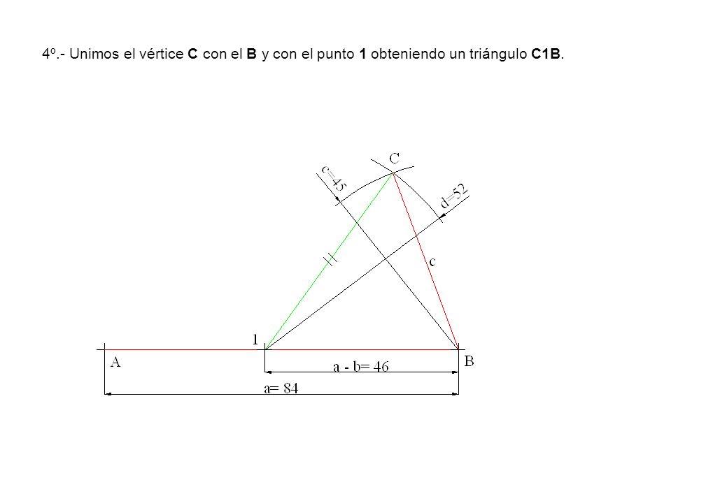 4º.- Unimos el vértice C con el B y con el punto 1 obteniendo un triángulo C1B.