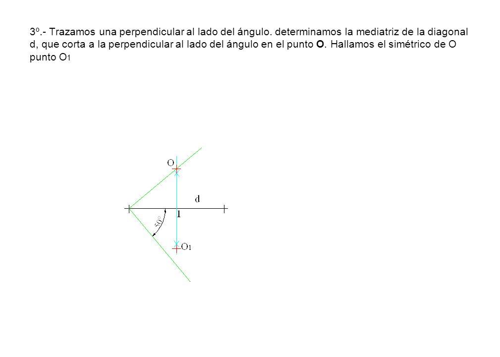 3º. - Trazamos una perpendicular al lado del ángulo