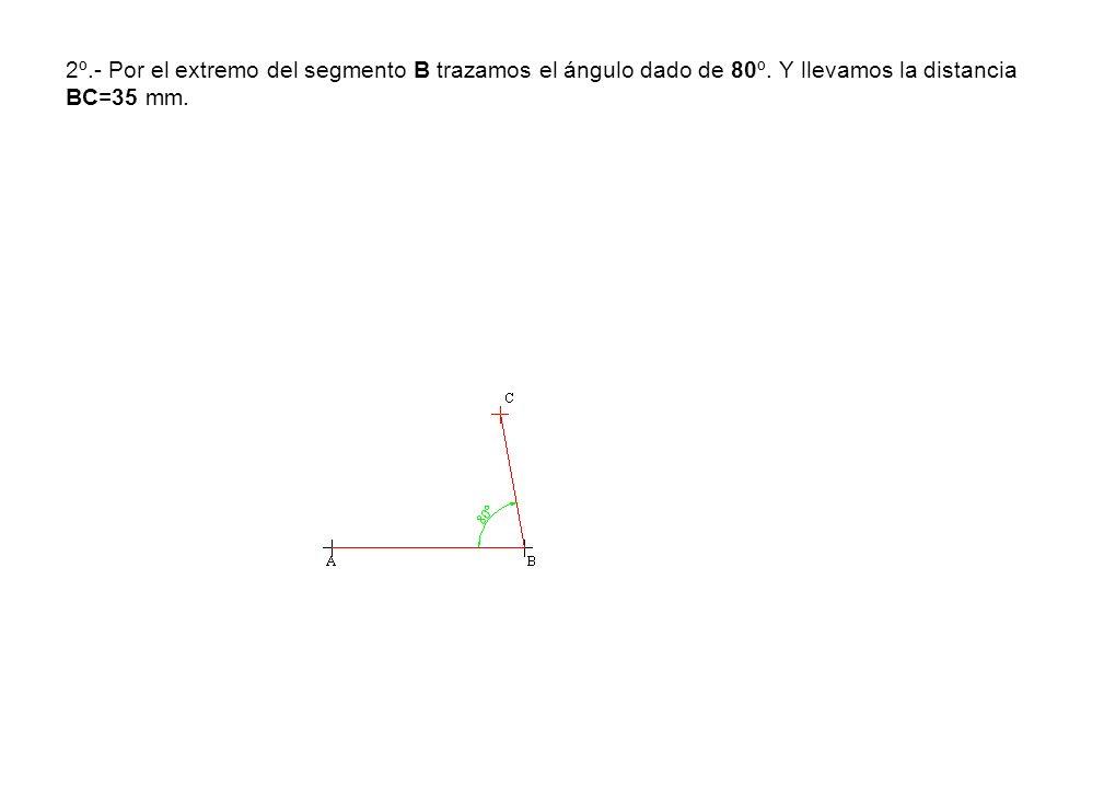 2º. - Por el extremo del segmento B trazamos el ángulo dado de 80º