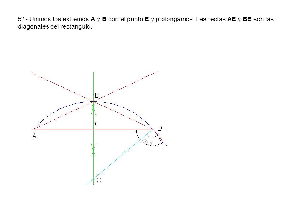 5º. - Unimos los extremos A y B con el punto E y prolongamos