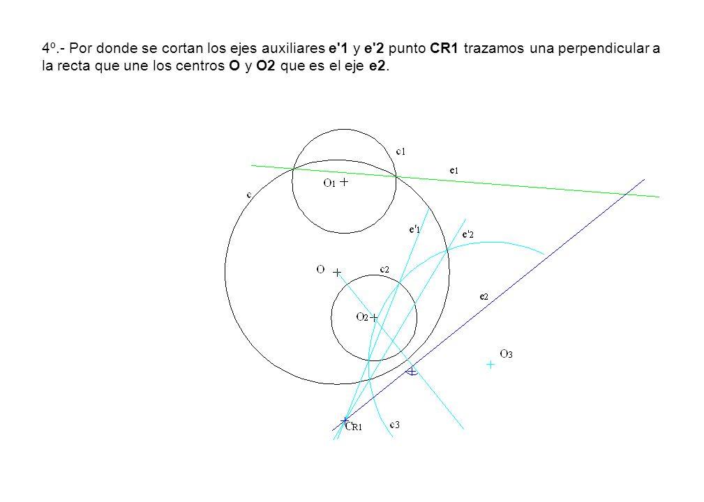 4º.- Por donde se cortan los ejes auxiliares e 1 y e 2 punto CR1 trazamos una perpendicular a la recta que une los centros O y O2 que es el eje e2.