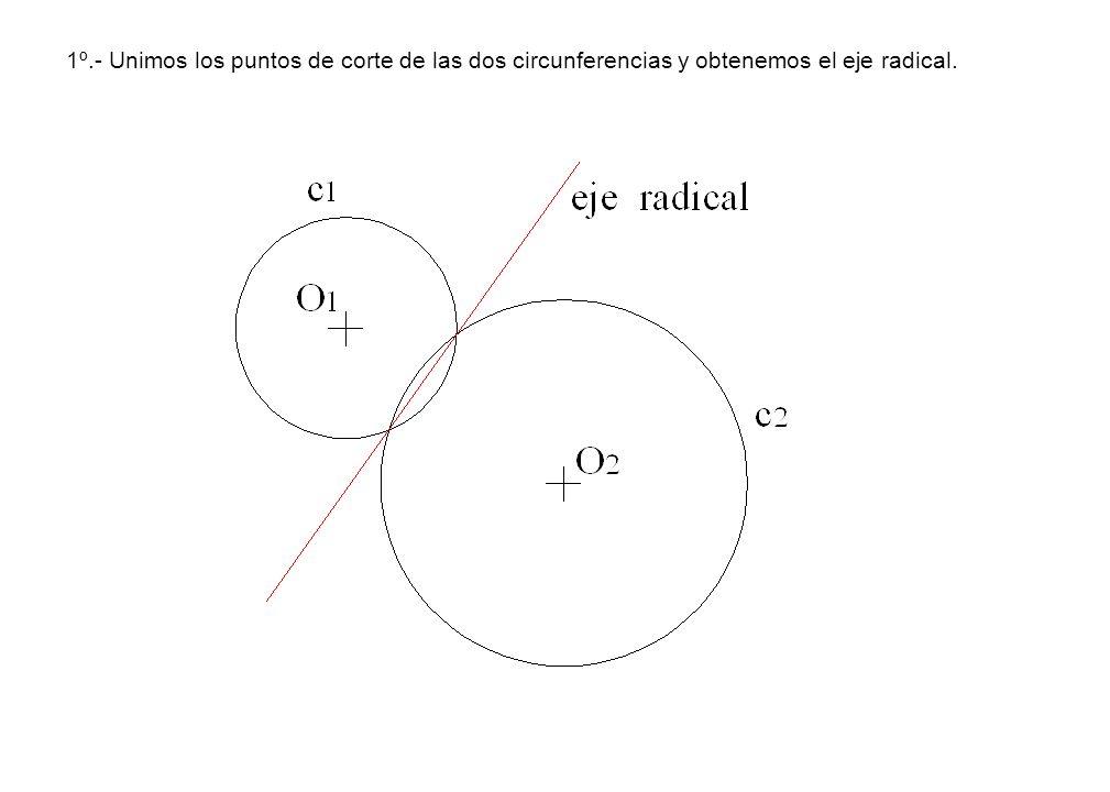 1º.- Unimos los puntos de corte de las dos circunferencias y obtenemos el eje radical.