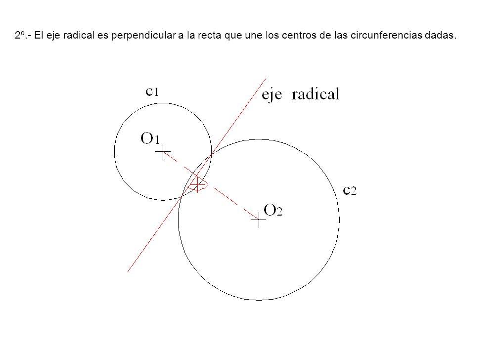 2º.- El eje radical es perpendicular a la recta que une los centros de las circunferencias dadas.