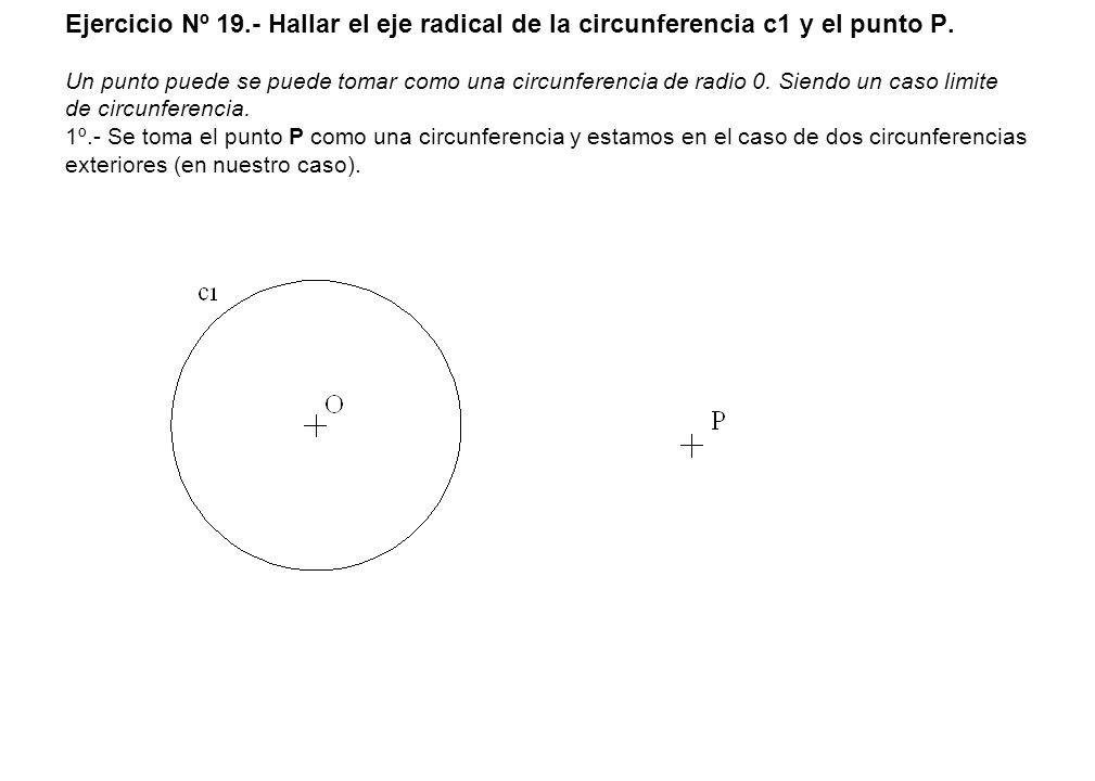 Ejercicio Nº 19.- Hallar el eje radical de la circunferencia c1 y el punto P.