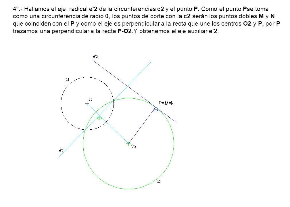 4º.- Hallamos el eje radical e 2 de la circunferencias c2 y el punto P.