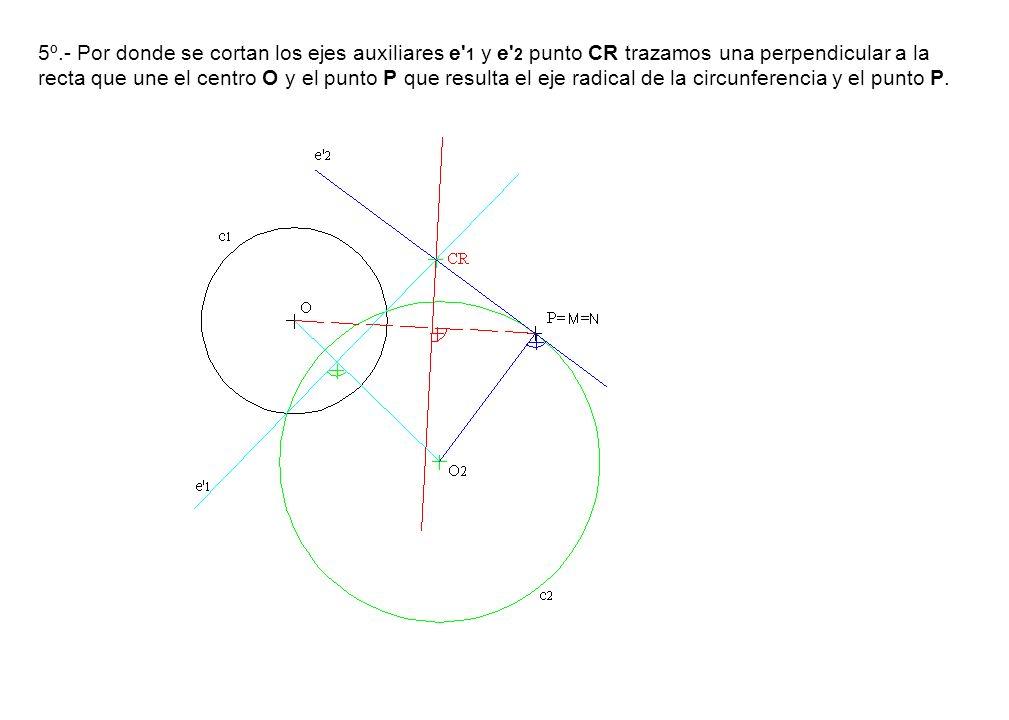 5º.- Por donde se cortan los ejes auxiliares e 1 y e 2 punto CR trazamos una perpendicular a la recta que une el centro O y el punto P que resulta el eje radical de la circunferencia y el punto P.