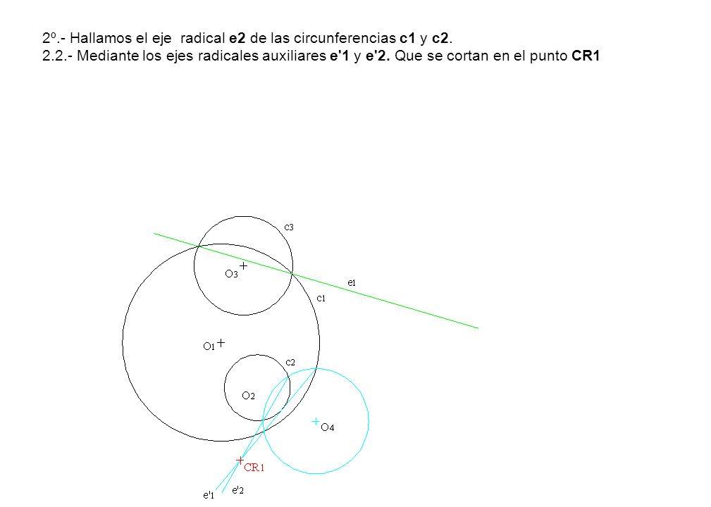 2º. - Hallamos el eje radical e2 de las circunferencias c1 y c2. 2. 2