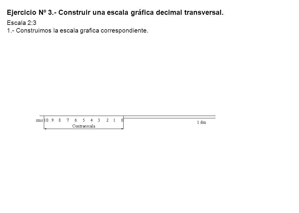 Ejercicio Nº 3. - Construir una escala gráfica decimal transversal