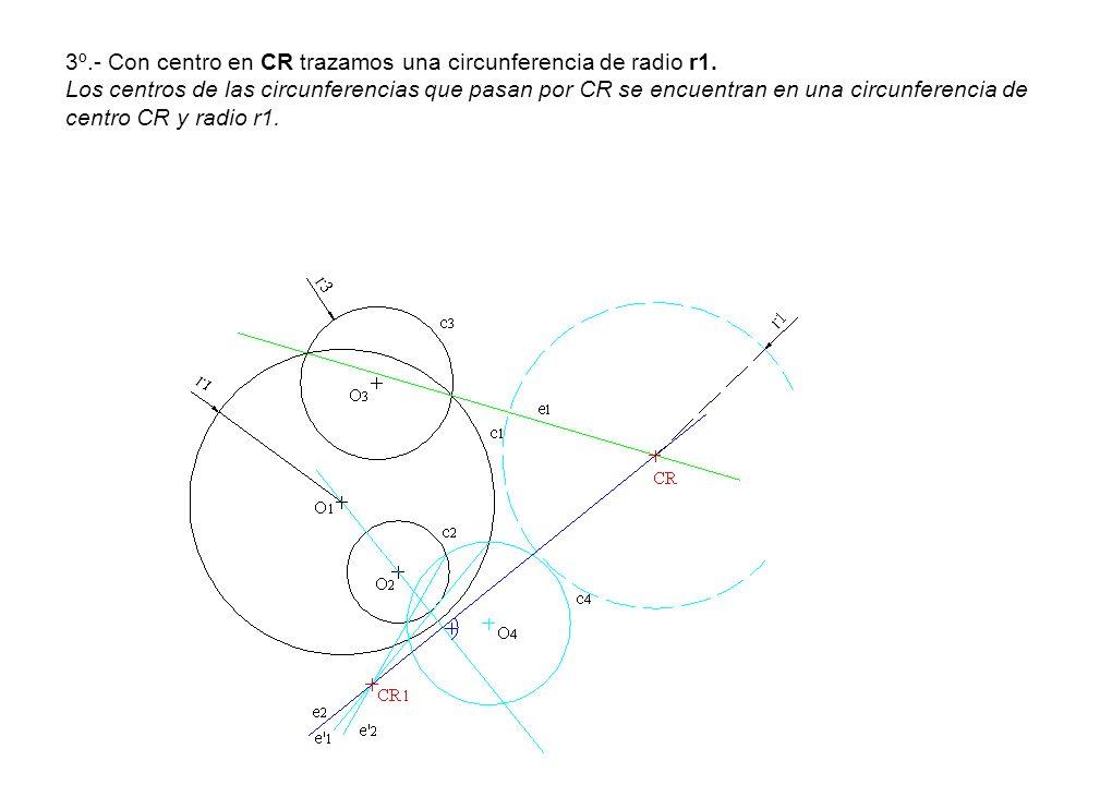 3º. - Con centro en CR trazamos una circunferencia de radio r1