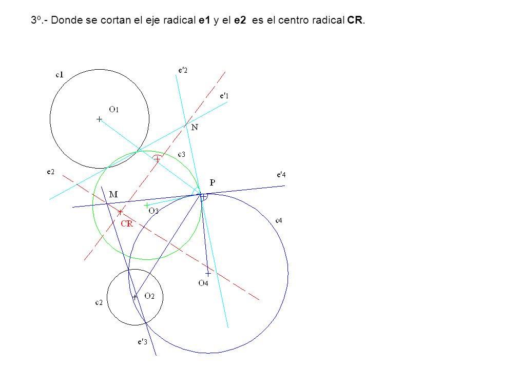 3º.- Donde se cortan el eje radical e1 y el e2 es el centro radical CR.