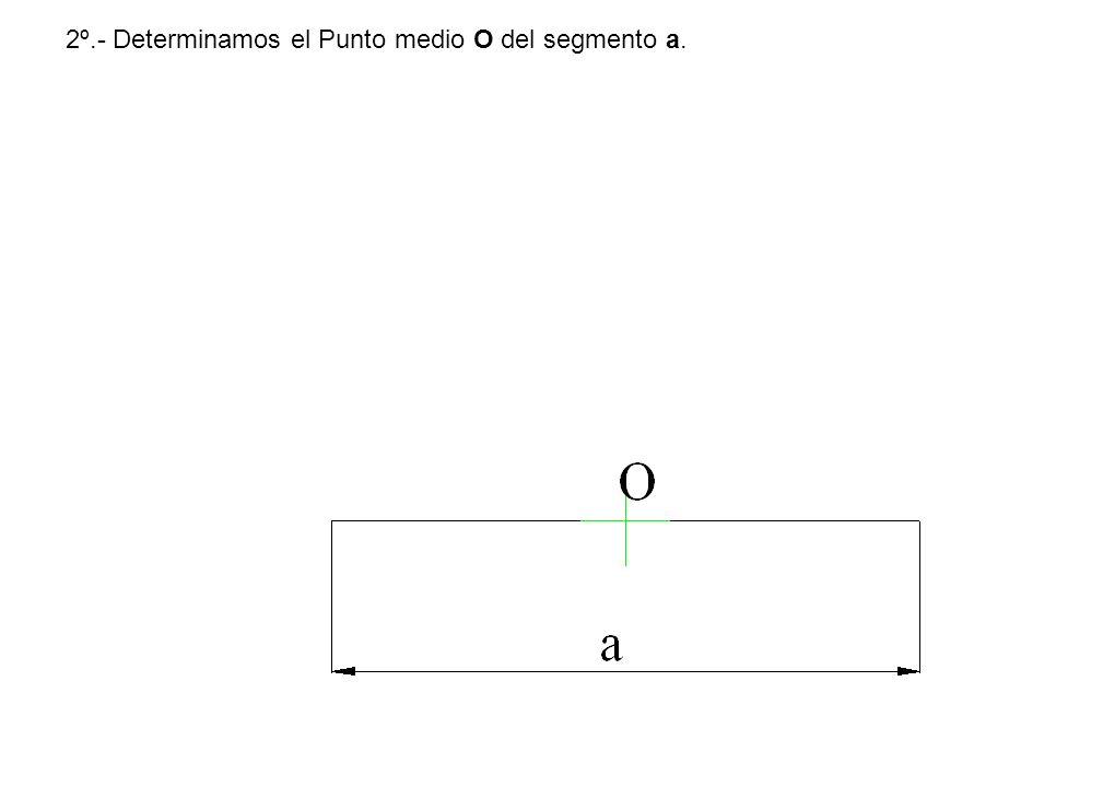 2º.- Determinamos el Punto medio O del segmento a.
