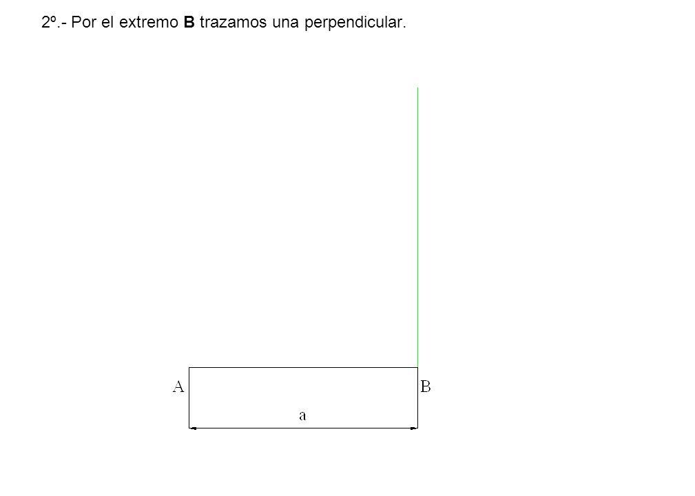 2º.- Por el extremo B trazamos una perpendicular.