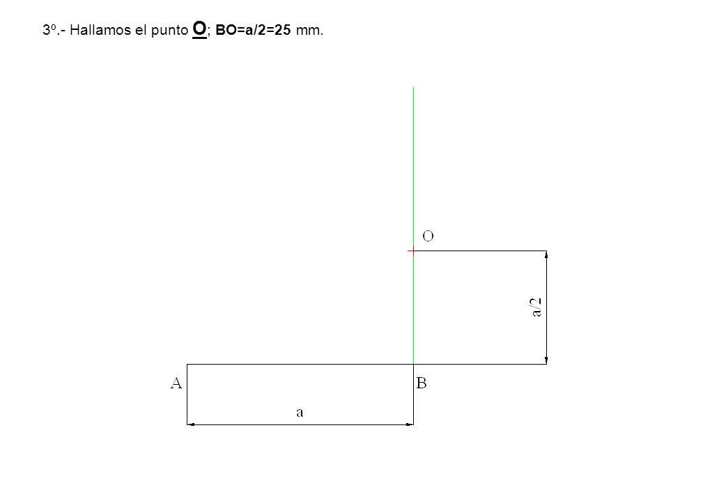 3º.- Hallamos el punto O; BO=a/2=25 mm.