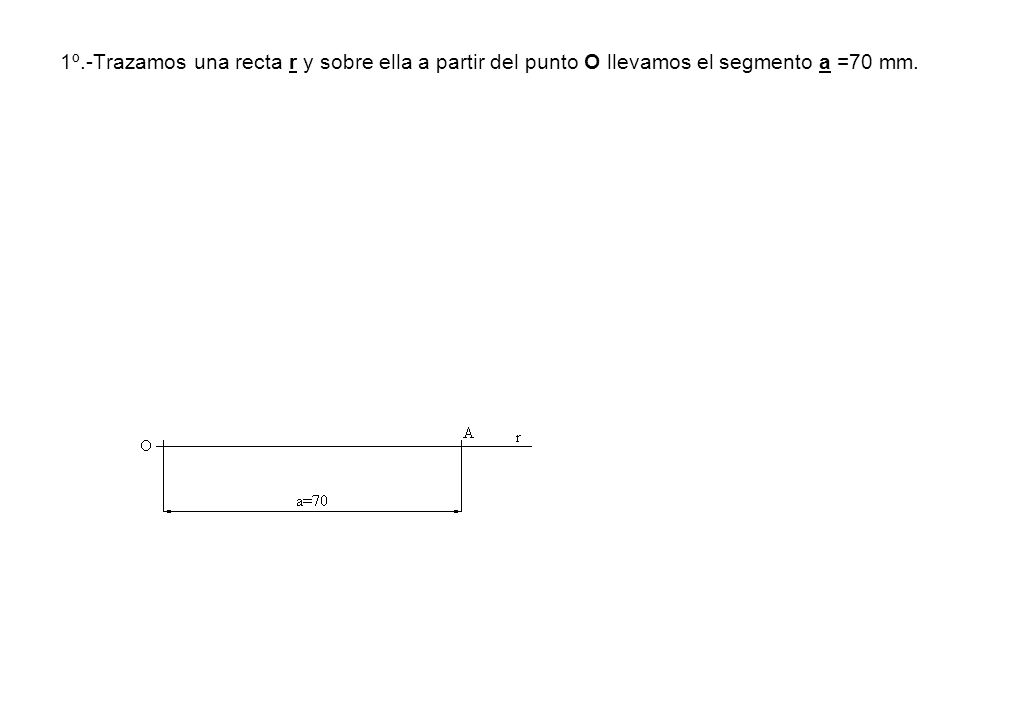 1º.-Trazamos una recta r y sobre ella a partir del punto O llevamos el segmento a =70 mm.