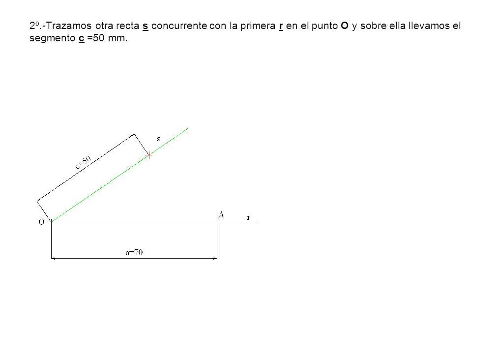 2º.-Trazamos otra recta s concurrente con la primera r en el punto O y sobre ella llevamos el segmento c =50 mm.