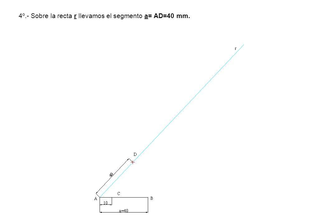 4º.- Sobre la recta r llevamos el segmento a= AD=40 mm.