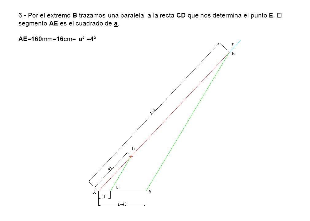6.- Por el extremo B trazamos una paralela a la recta CD que nos determina el punto E.