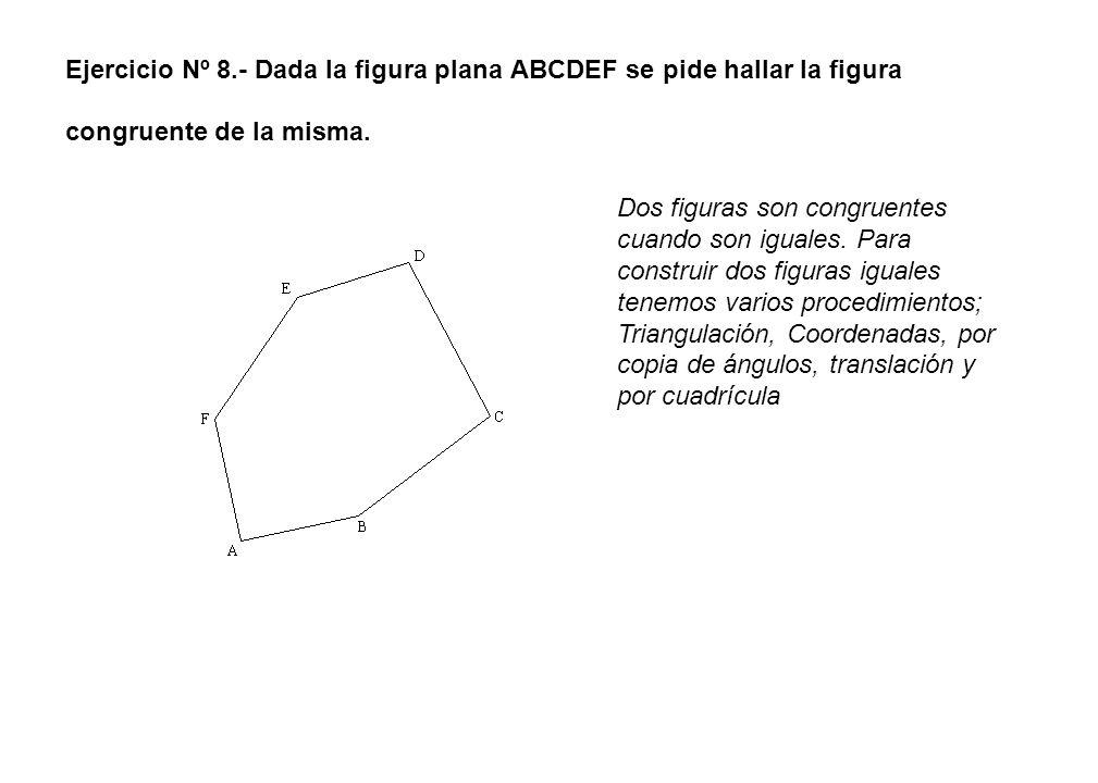 Ejercicio Nº 8.- Dada la figura plana ABCDEF se pide hallar la figura congruente de la misma.