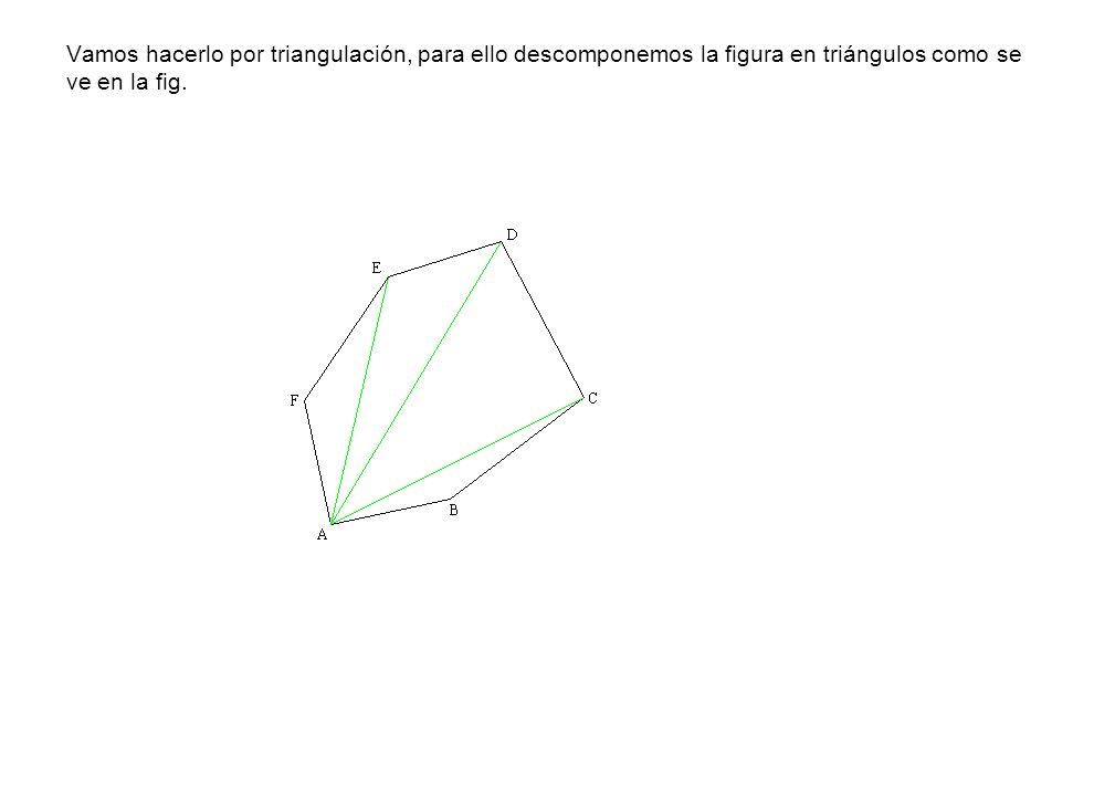 Vamos hacerlo por triangulación, para ello descomponemos la figura en triángulos como se ve en la fig.