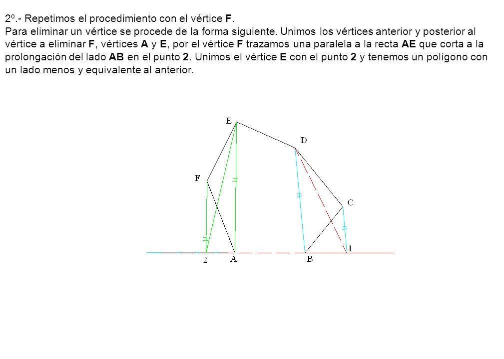2º. - Repetimos el procedimiento con el vértice F