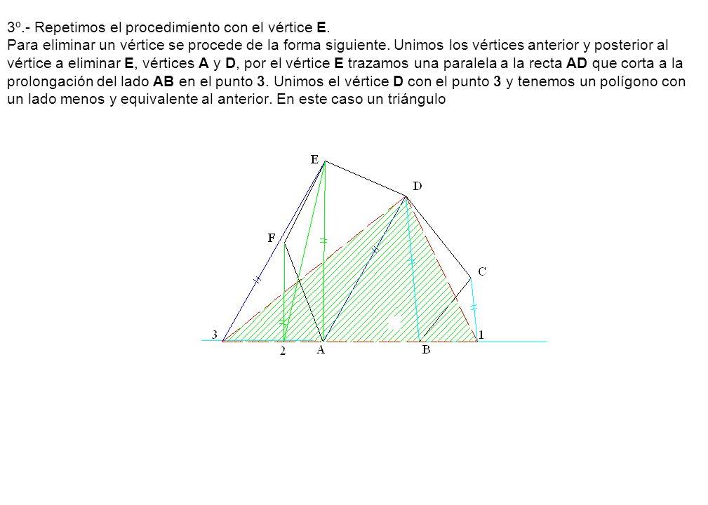 3º. - Repetimos el procedimiento con el vértice E