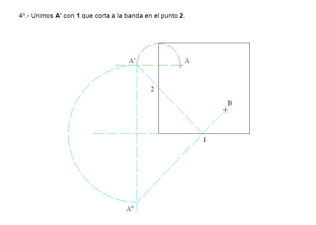 4º.- Unimos A con 1 que corta a la banda en el punto 2.