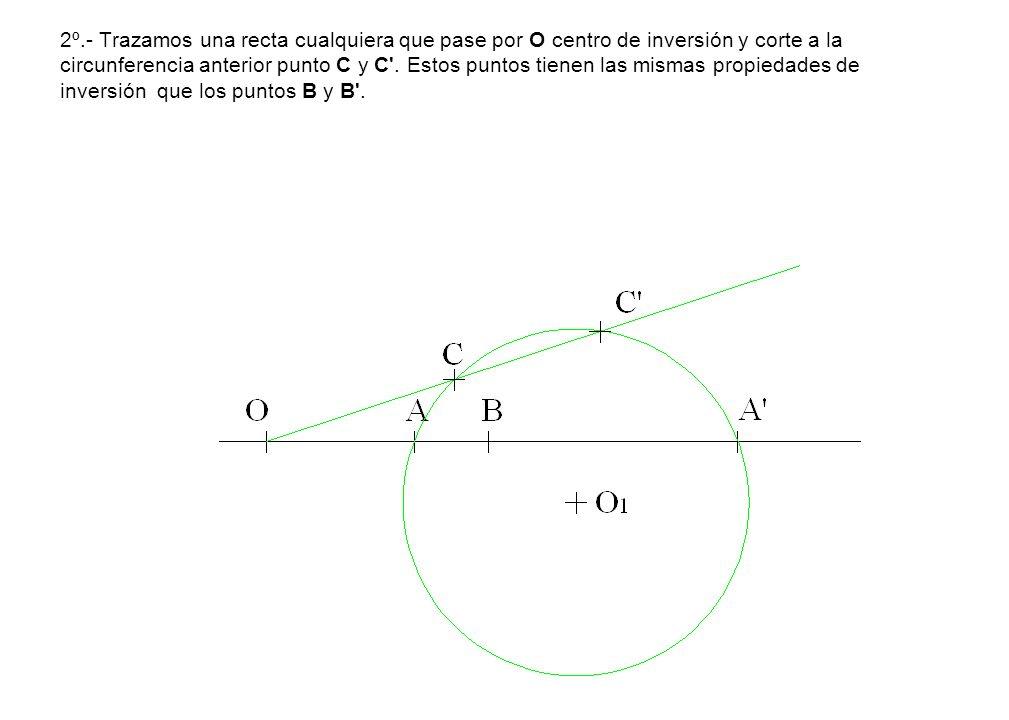 2º.- Trazamos una recta cualquiera que pase por O centro de inversión y corte a la circunferencia anterior punto C y C .