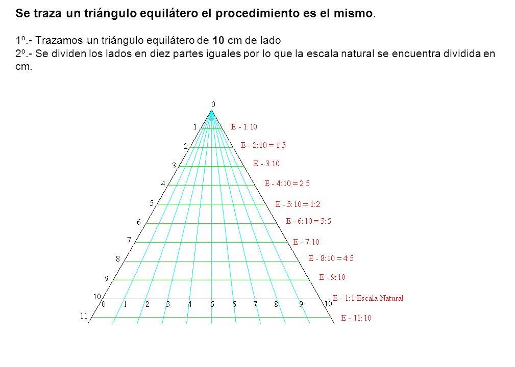 Se traza un triángulo equilátero el procedimiento es el mismo. 1º