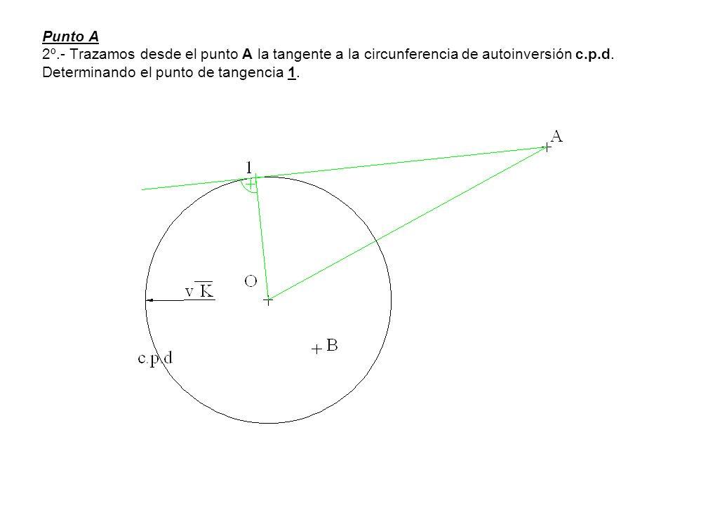Punto A 2º.- Trazamos desde el punto A la tangente a la circunferencia de autoinversión c.p.d.