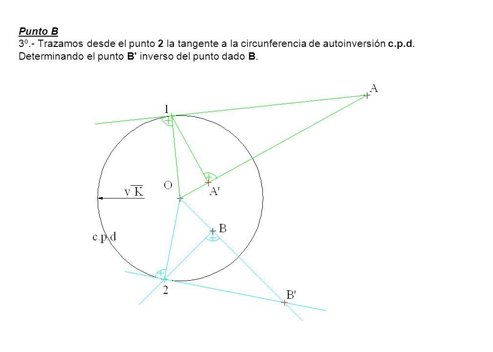 Punto B 3º.- Trazamos desde el punto 2 la tangente a la circunferencia de autoinversión c.p.d.