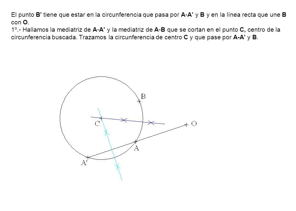 El punto B tiene que estar en la circunferencia que pasa por A-A y B y en la línea recta que une B con O.
