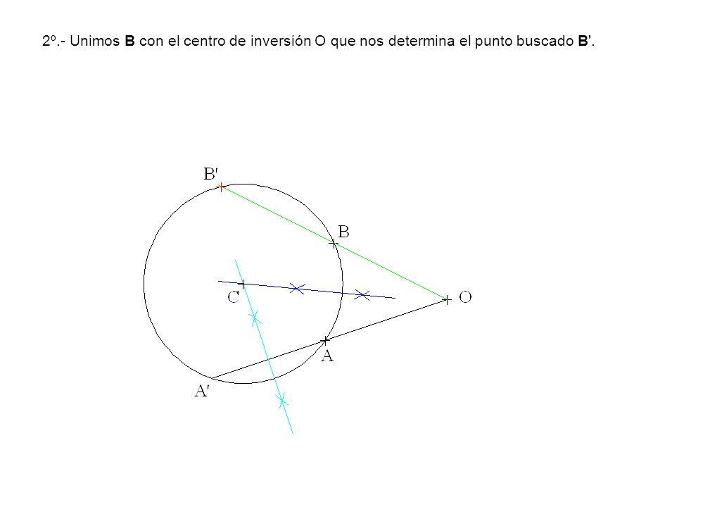 2º.- Unimos B con el centro de inversión O que nos determina el punto buscado B .