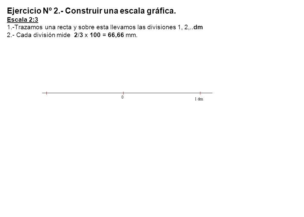 Ejercicio Nº 2. - Construir una escala gráfica. Escala 2:3 1