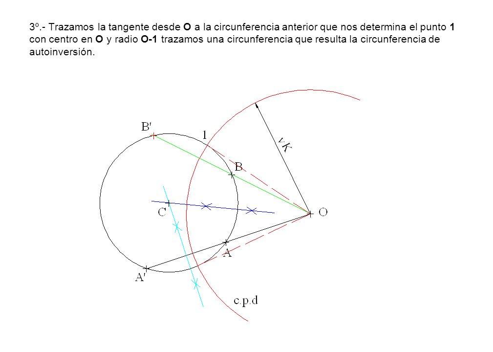 3º.- Trazamos la tangente desde O a la circunferencia anterior que nos determina el punto 1 con centro en O y radio O-1 trazamos una circunferencia que resulta la circunferencia de autoinversión.