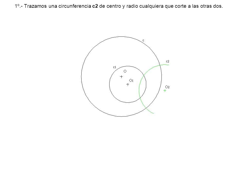 1º.- Trazamos una circunferencia c2 de centro y radio cualquiera que corte a las otras dos.