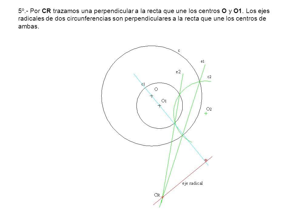 5º.- Por CR trazamos una perpendicular a la recta que une los centros O y O1.
