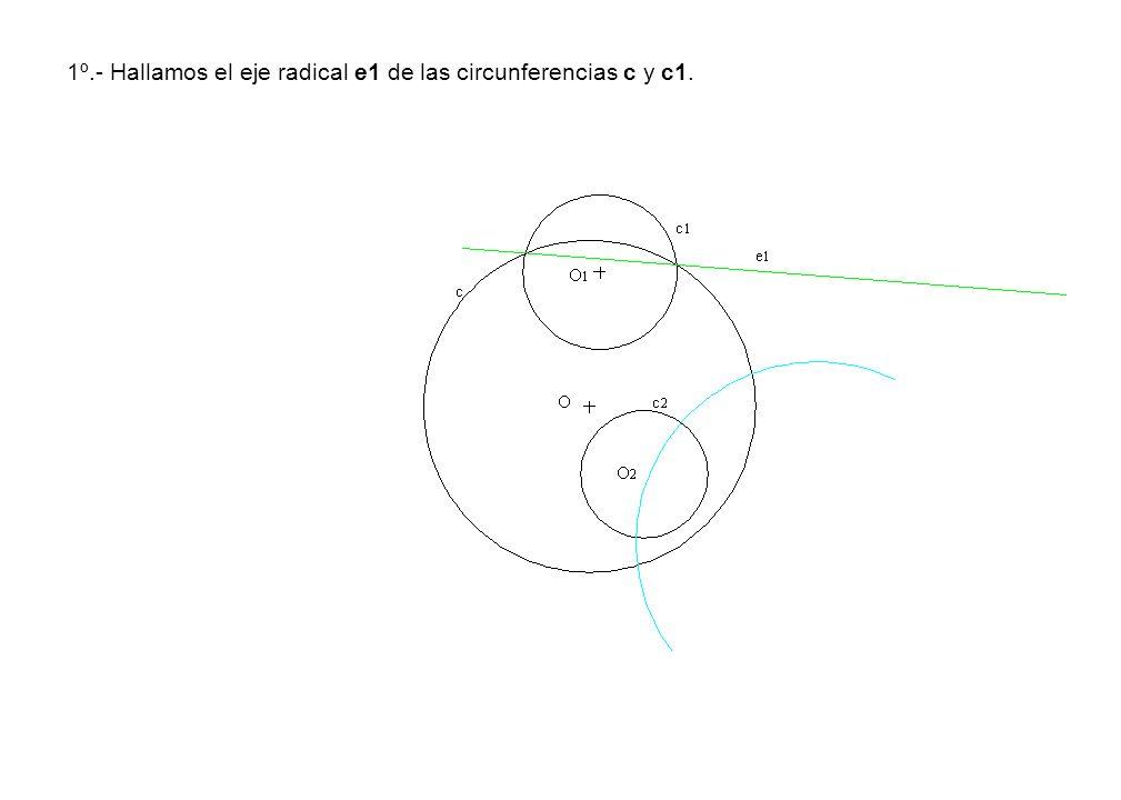 1º.- Hallamos el eje radical e1 de las circunferencias c y c1.