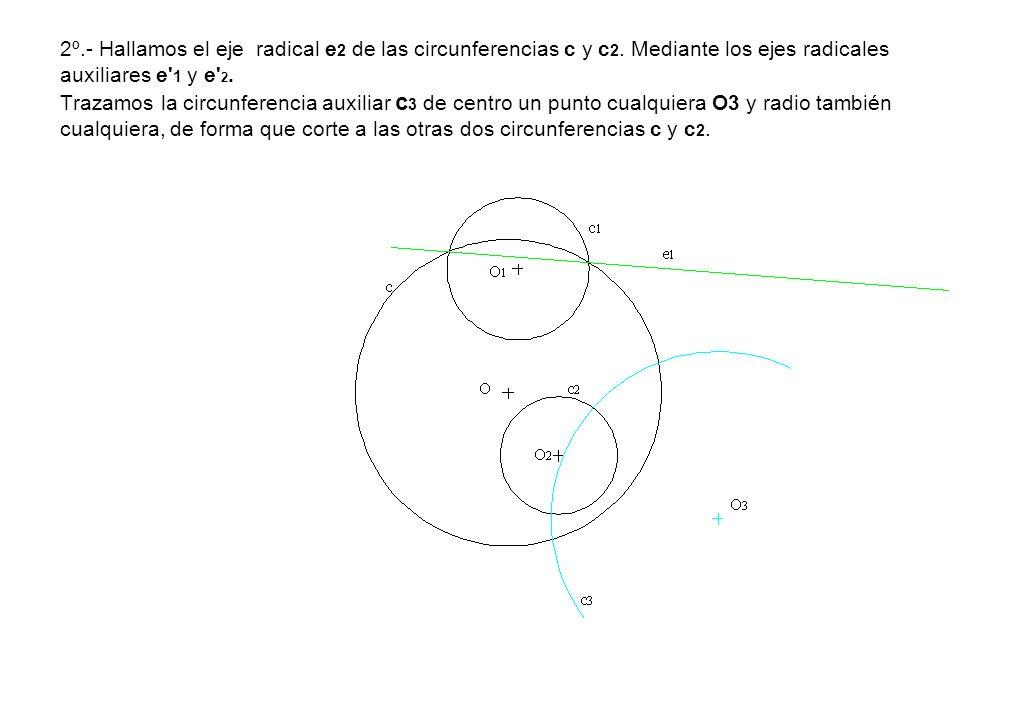 2º. - Hallamos el eje radical e2 de las circunferencias c y c2