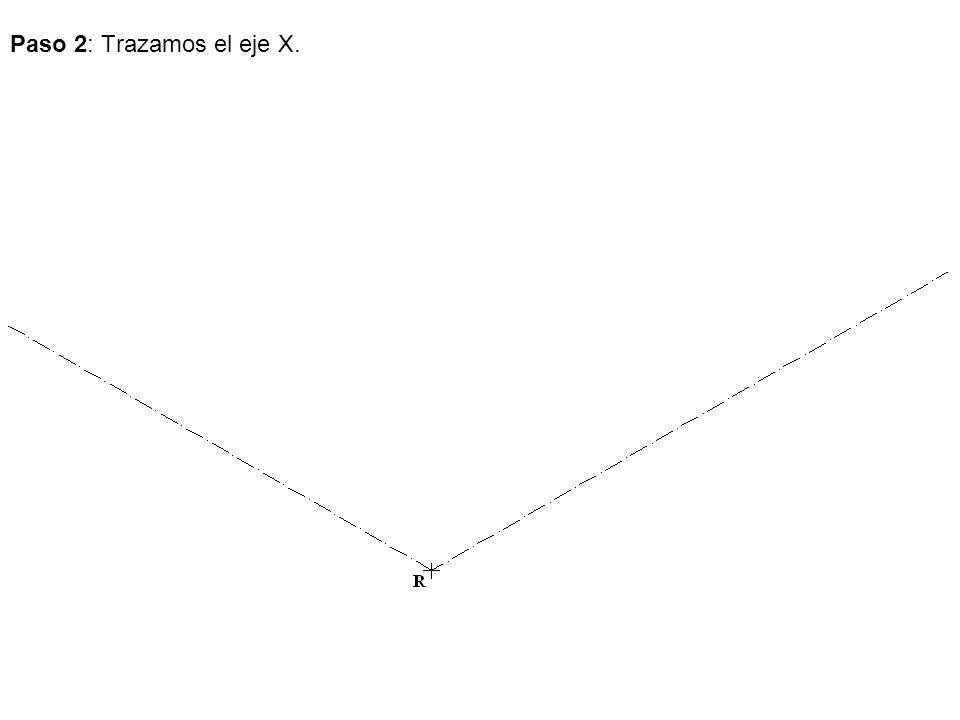 Paso 2: Trazamos el eje X.