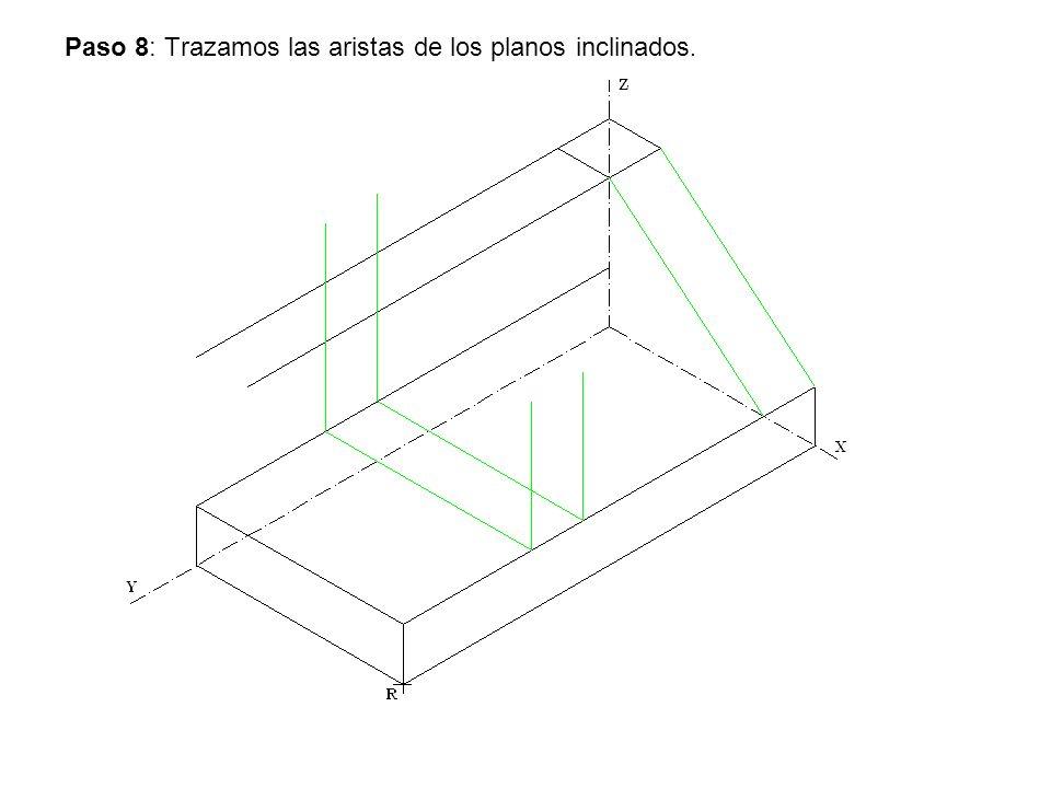 Paso 8: Trazamos las aristas de los planos inclinados.