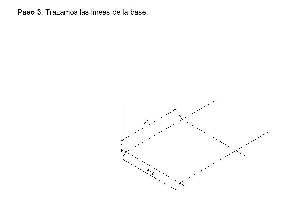 Paso 3: Trazamos las líneas de la base.