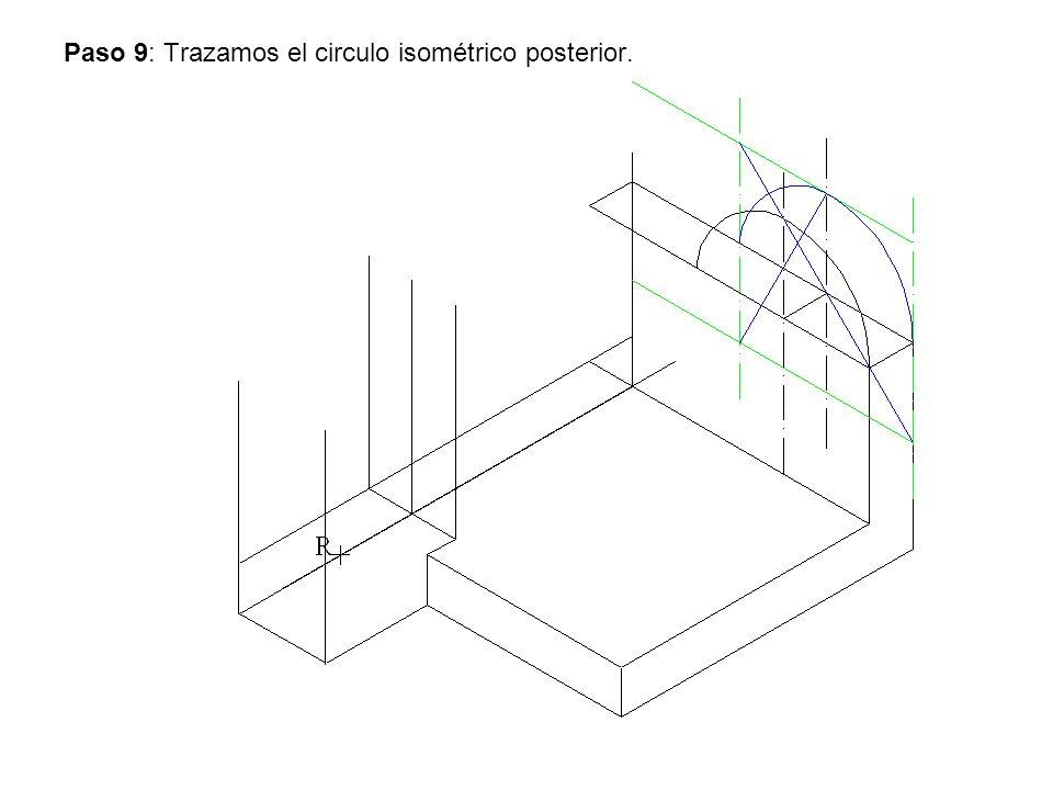 Paso 9: Trazamos el circulo isométrico posterior.