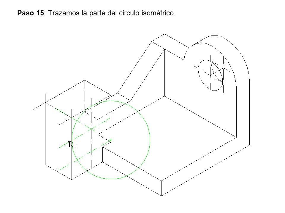 Paso 15: Trazamos la parte del circulo isométrico.