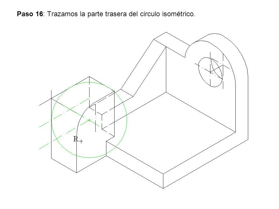Paso 16: Trazamos la parte trasera del circulo isométrico.