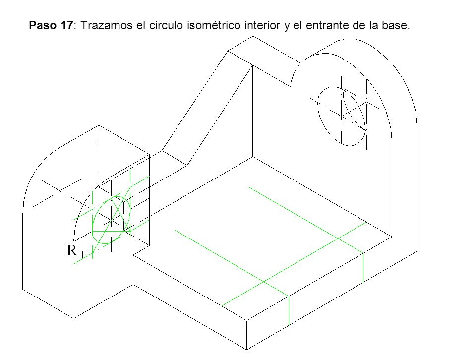 Paso 17: Trazamos el circulo isométrico interior y el entrante de la base.