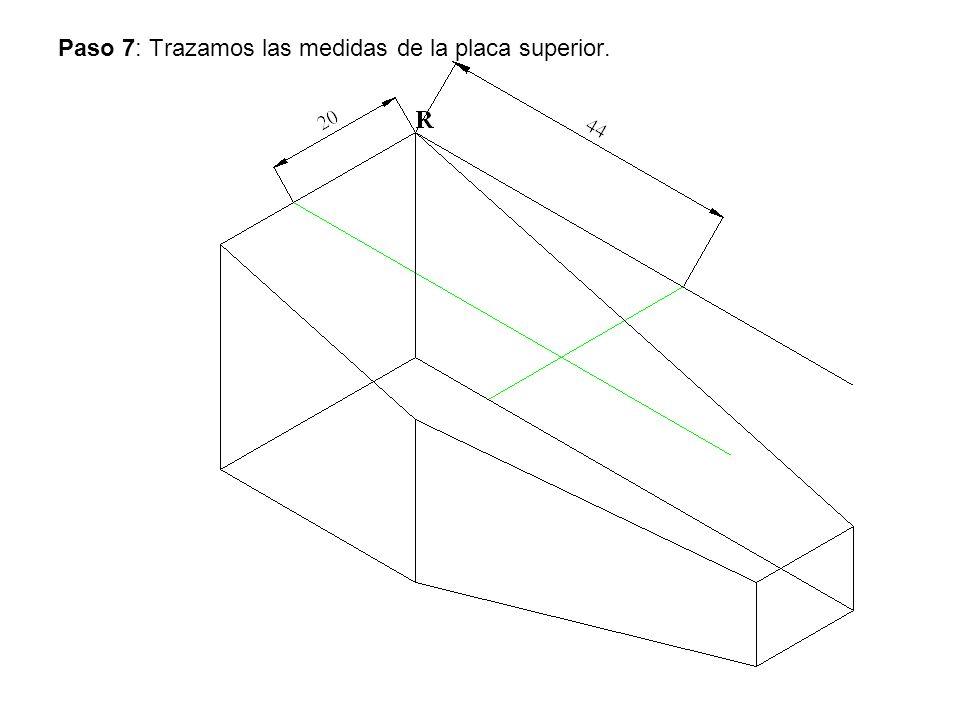 Paso 7: Trazamos las medidas de la placa superior.