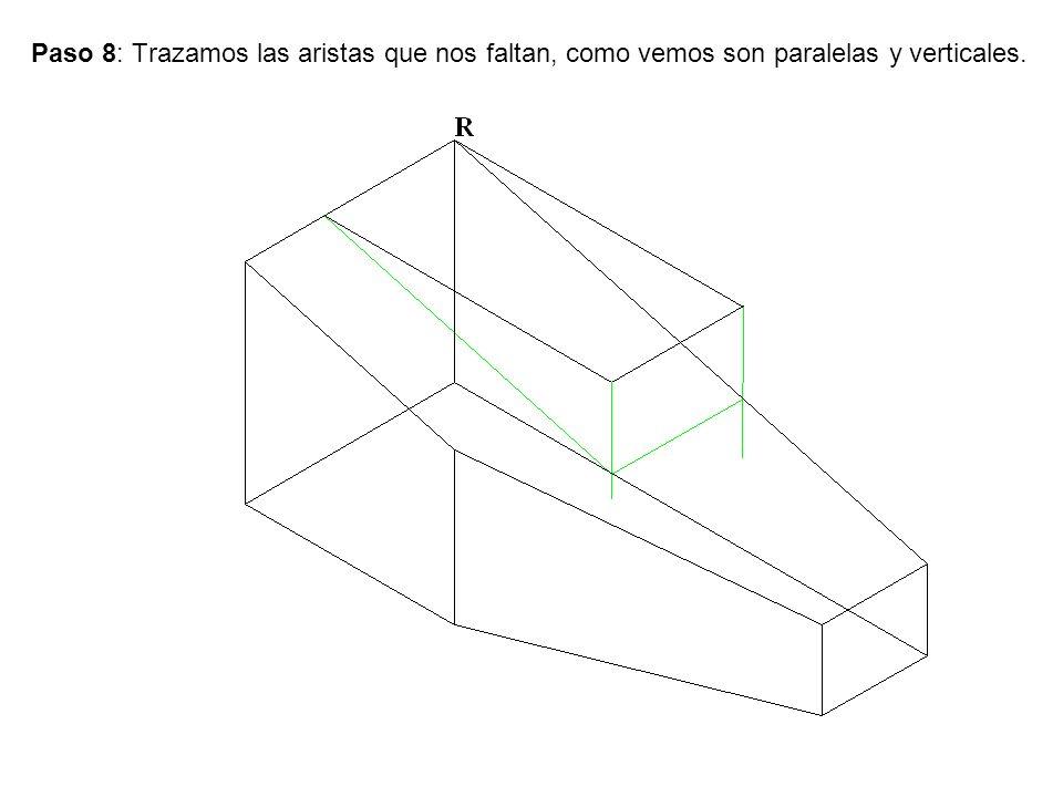 Paso 8: Trazamos las aristas que nos faltan, como vemos son paralelas y verticales.