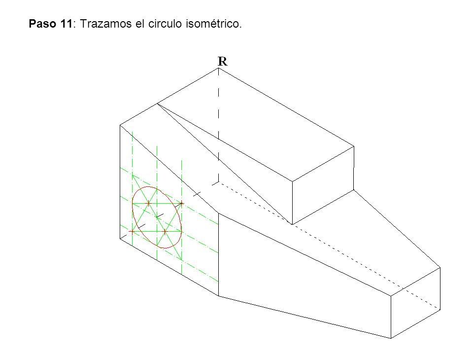 Paso 11: Trazamos el circulo isométrico.