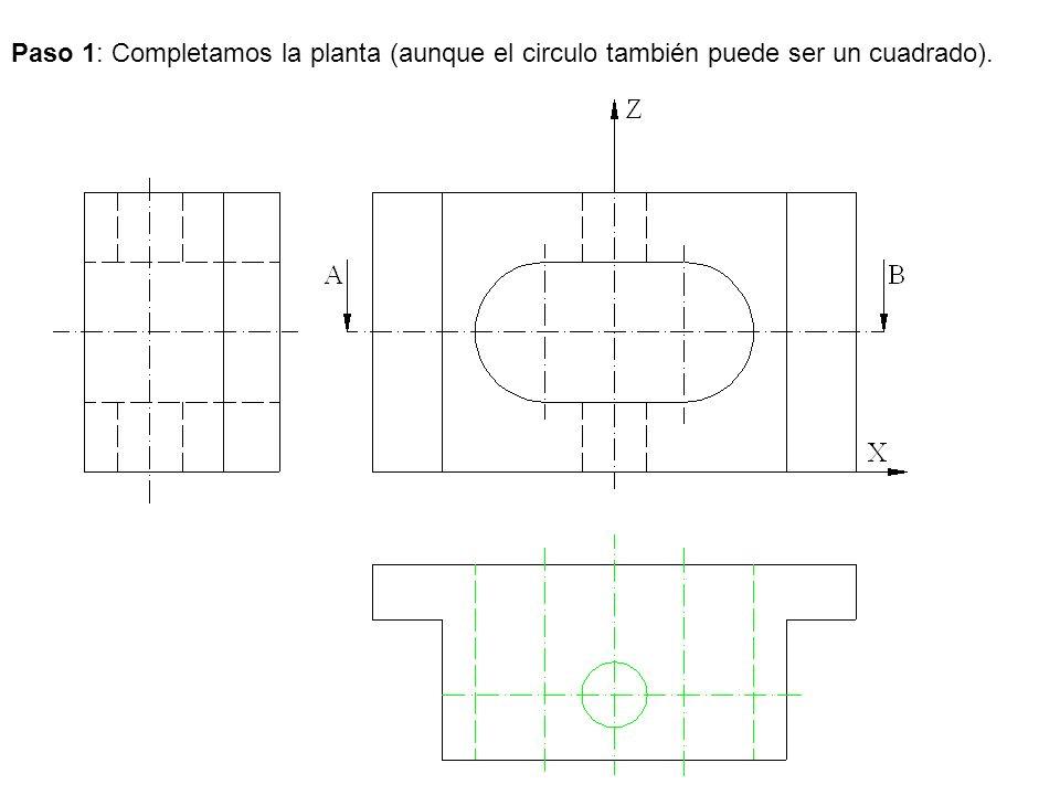 Paso 1: Completamos la planta (aunque el circulo también puede ser un cuadrado).