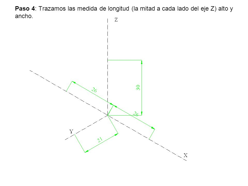 Paso 4: Trazamos las medida de longitud (la mitad a cada lado del eje Z) alto y ancho.